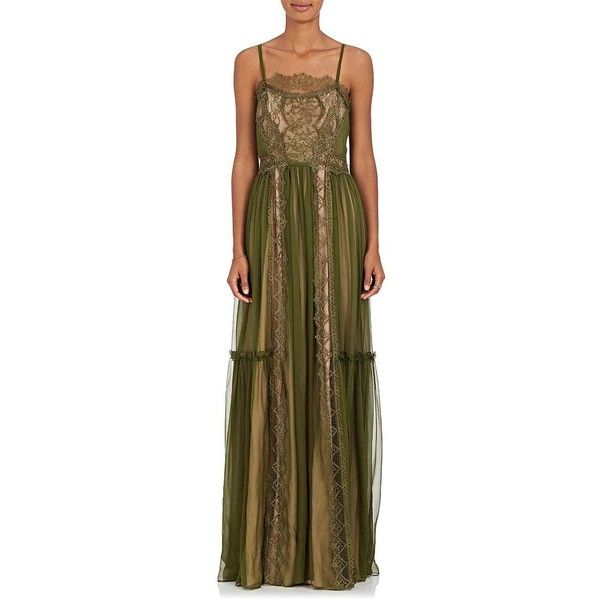 Alberta Ferretti Women's Silk Chiffon & Lace Gown ($2,995) ❤ liked on Polyvore featuring dresses, gowns, green, indian gowns, brown evening gowns, green lace dress, lace evening dresses and lace dress