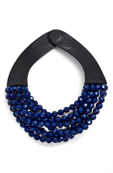 Free shipping and returns on Fairchild Baldwin Multirow Beaded Collar Necklace at Nordstrom.com. Designed by Jill Fairchild and Karen Baldwin, veterans of the fashion and design world, this weighty collar necklace epitomizes the eponymous brand's modern aesthetic. Here, eight strands of faceted beads nicely contrast with streamlined leather straps that fasten with a sleek magnetic closure.