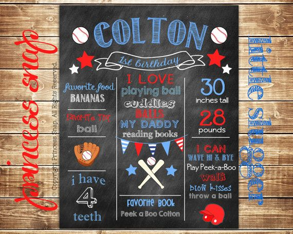 First Birthday Chalkboard Poster Sign - Baseball Sports- Printable - Digital File JPG - Baby's First Birthday
