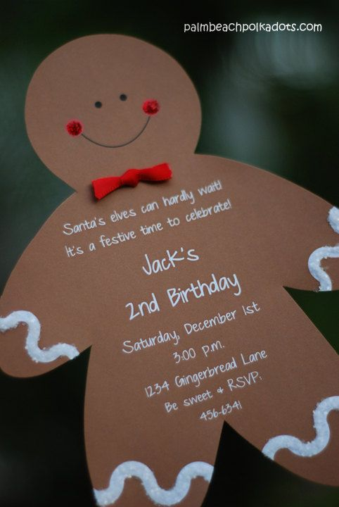 Kids Christmas Party Ideas Pinterest Part - 38: 10 Christmas Birthday Gingerbread Boy Or Girl Invitations By Palm Beach  Polkadots