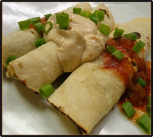 """Orange Black Bean Taquitos with Spiked Sour """"Cream""""Sour Cream, Black Beans, Orange Black, Forks Over Knives, Chefs Mexicans Recipe, Rice Casserole, Vegan Mexican, Beans Taquitos, Recipe Book"""