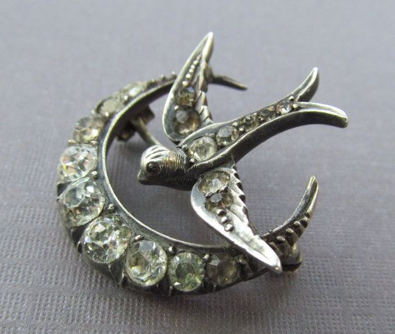 Victorian Sterling Silver Bird Brooch Crescent Moon With Paste Stones Antique Pin: Birds Brooches, Silver Birds, Sterling Silver, Antiques Pin, Victorian Sterling, Brooches Sun Moon Stars, Stones Antiques, Crescents Moon, Brooches Crescents