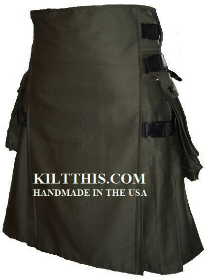 "Arm green soft cotton hiker kilt with large expanding pockets and interchangeable parts utility kilt. This design is the only design that has interchangeable parts so you can build up your kilt when you feel like it. Add different front aprons or different pockets. You can even upgrade your kilt to be interchangeable from the ""Hiker,"" designer to the ""Snap,"" front apron. If you have questions, just send us a message. Possible upgrades for an additional fee; metal clips, removable pockets…"