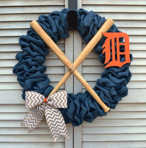 Detroit Tigers Burlap Wreath  16 inch by MichiganStateOfMind