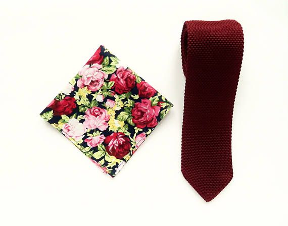 Burgundy knitted tie floral pocket square wedding knit tie