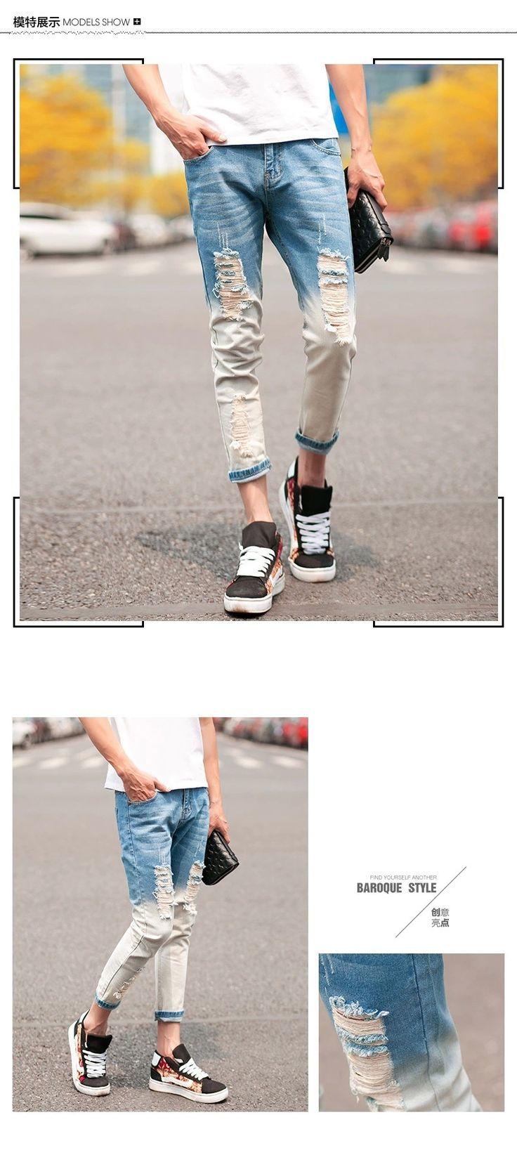 Мужские летние джинсы брюки карандаш брюки 2015 Корейской моды мужской белый снежинка стиль нищий отверстие Тонкий джинсы купить на AliExpress