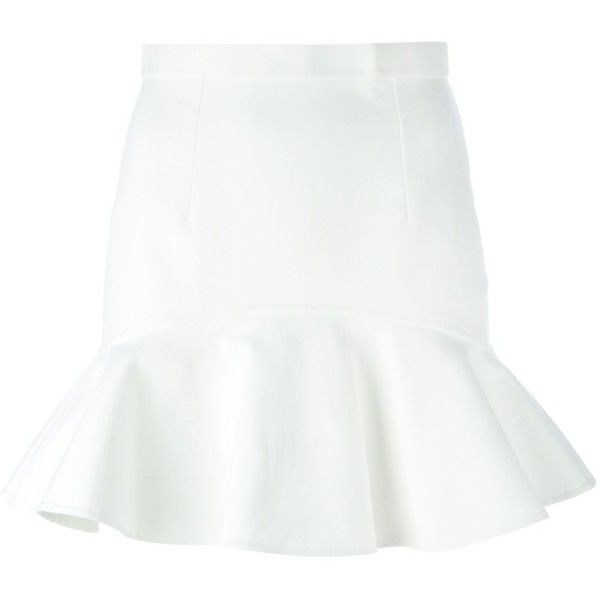 Dsquared2 short peplum skirt (735.135 CLP) ❤ liked on Polyvore featuring skirts, mini skirts, white, high waisted skirts, white mini skirt, white skirt, short miniskirt and high-waisted skirts