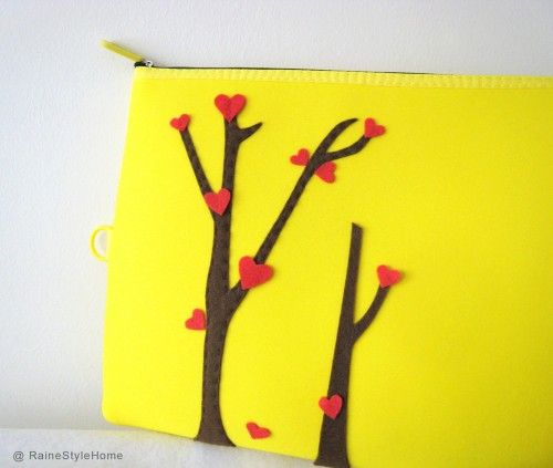 Love Trees Blossom Bright Yellow Padded Pouch Ipad Case Laptop Pouch