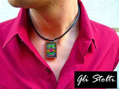 """Ciondolo in bronzo, resina ed elemento con ritocchi a mano """"El Lobo"""". Gli Stolti Original Design  http://gli-stolti.blogspot.it/2013/11/gli-stolti-uomo.html  #moda #artigianato #design #madeinitaly #shopping #roma #uomo"""