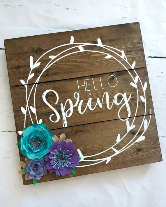 Hello Spring Wood Sign home decor flowers by Onceuponavinylbyliv