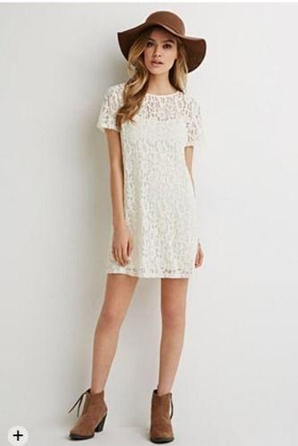vestido blanco corto casual de encaje - forever21
