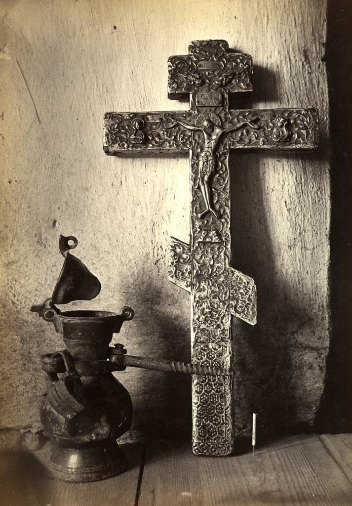 Medieval silver cross - photo of 1904, Novgorod, Nereditsa Church