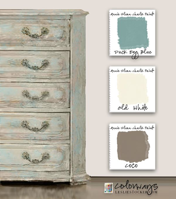 Colorways with Leslie Stocker » Always a Favorite. Annie Sloan Chalk Paint® Duck Egg Blue. Coco. Old White.