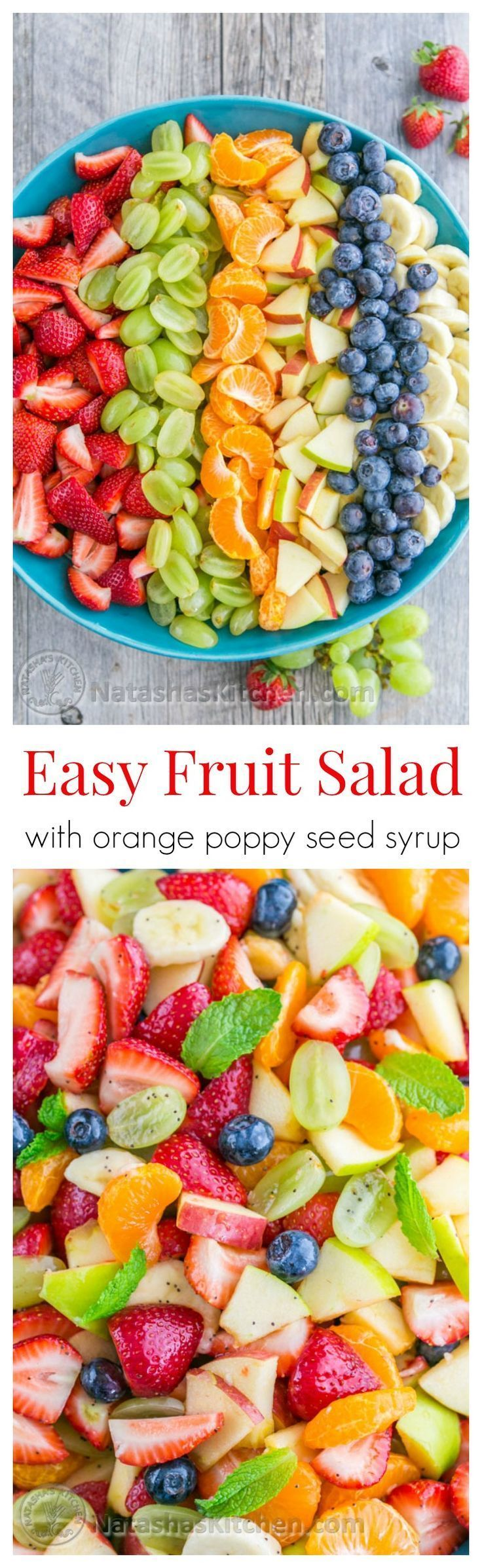 This Fruit Salad with Orange Poppy Seed Syrup is so easy & perfect for parties! @natashaskitchen