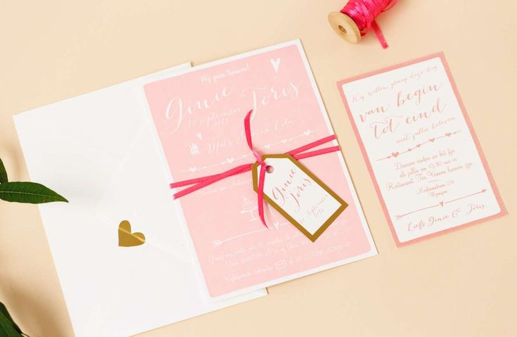Trouwkaart Goud en roze letterpress set - Ik blijf je trouw