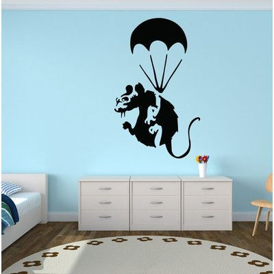 "Style and Apply Banksy Paratrooper Rat Wall Decal Color: Pastel Orange, Size: 49"" H x 31"" W"