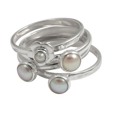 925 Sterling Silver Pearl Cooperation Ring