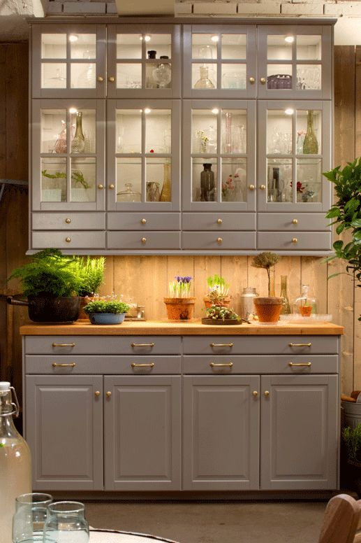 Ikea Kitchen Cabinets In Grey With Gold Handles