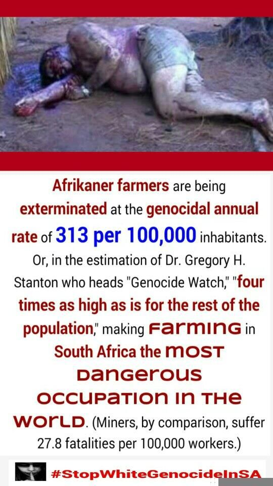 Every 36 hours a White Farmer (mostly #Boers) in South Africa is murdered and no in West mainstream media news (2015).