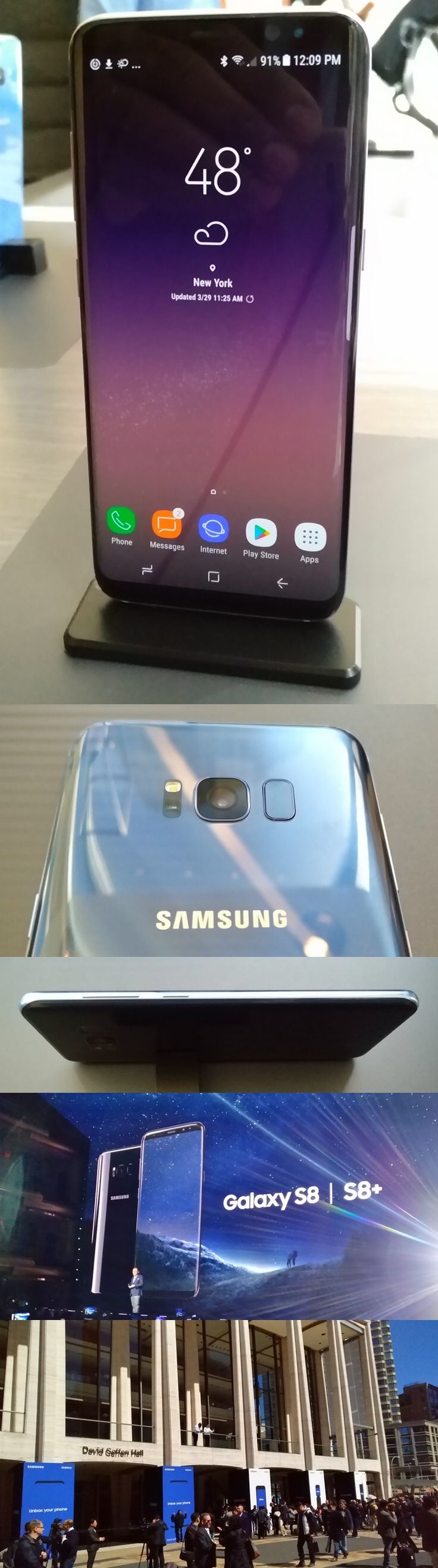 """The new @SamsungMobileUS Galaxy S8 and S8+ Android smartphones aim to wash away the stench of last year's ill-fated Note 7 with nifty features like thin profiles, curved """"infinity screens,"""" IP68 waterproof bodies and, of course, heavily tested batteries. Security features include fingerprint readers, iris and facial recognition and Samsung Knox software. The micro USB connector is out, the newer USB-C port is in, but surprise: The phones retain headphone jacks. Available April 21…"""