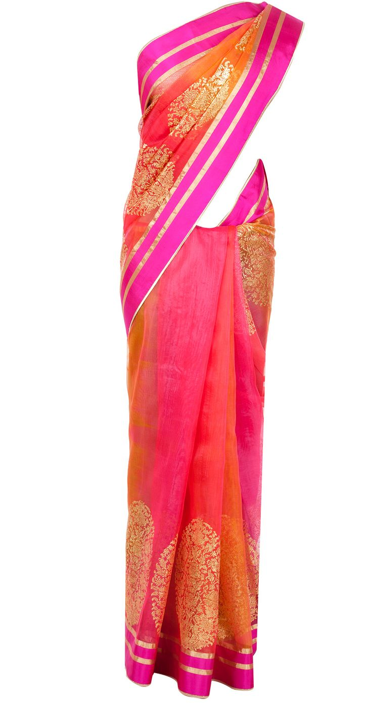 Multicoloured sari with gold motifs available only at Pernia's Pop-Up Shop. Love the cheery colours!