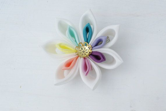 Rainbow Pastel Wedding Hair Piece Hair Flower by cuttlefishlove