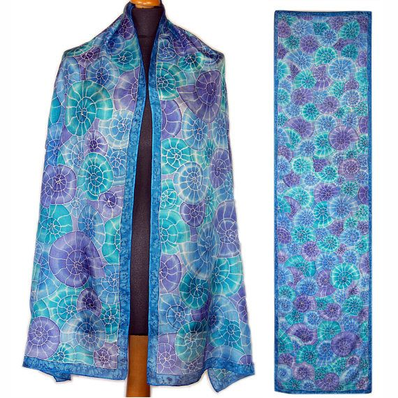 Silk hand painted scarf blue silk scarf nautical pattern