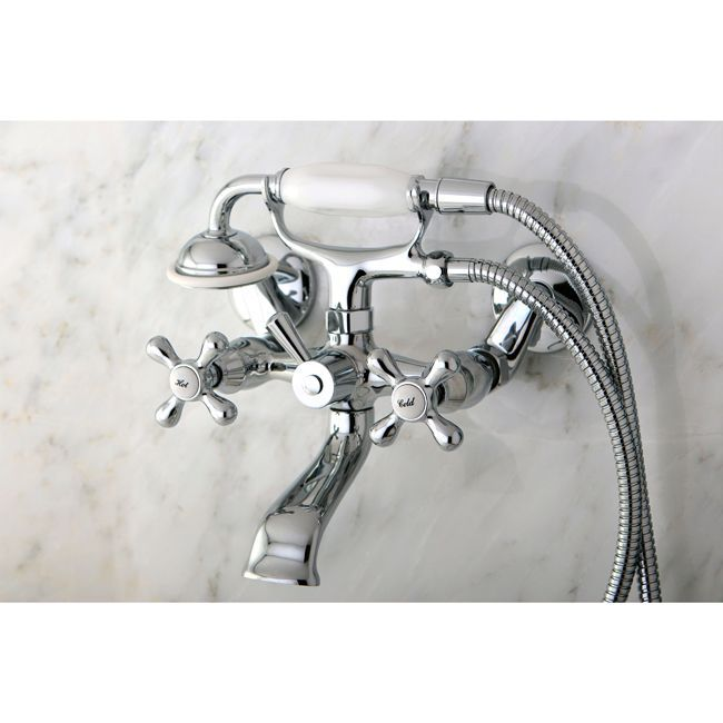 Nostalgic bathrooms dont have to be inconvenient. This chrome-finished clawfoot tub faucet, with its gooseneck spout, decorative lever stops, and hand shower, dresses up the tub while making your baths easier. Wall-mount or free-standing installation.