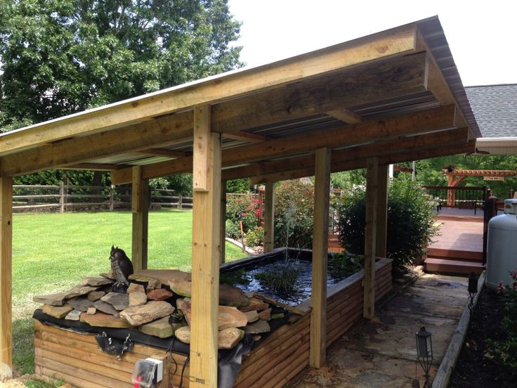 Fish pond made from landscape timbers
