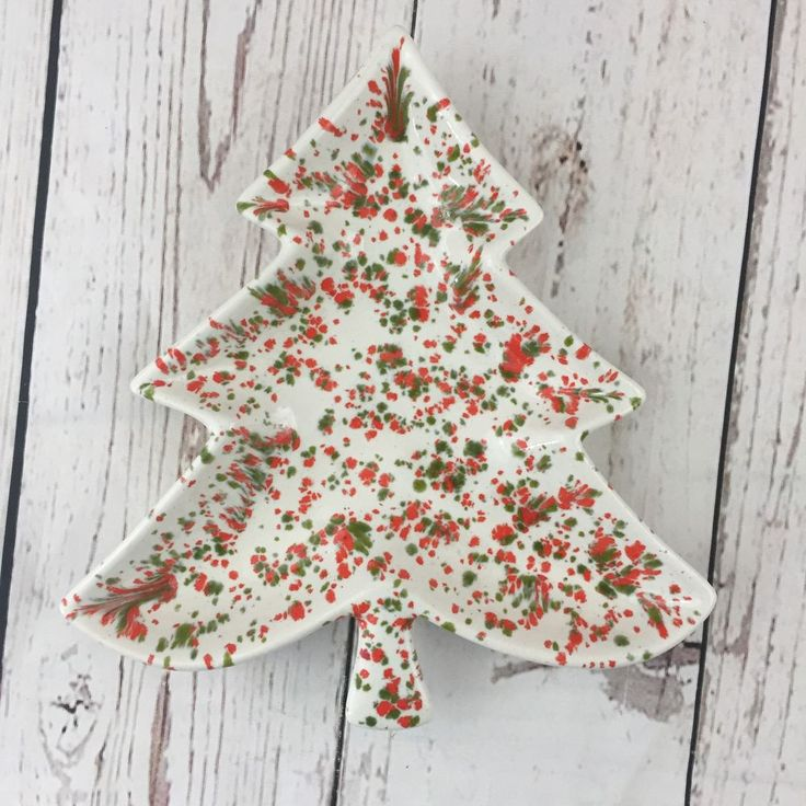 Vintage Ceramic Speckled Christmas Tree Shaped Candy Nut Dish 1960s Red Green