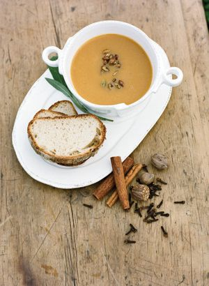 Soup of choice with Walnut garnish and toasted Sourdough on the side. Great for vegetarian entree or just a yummy entree choice.