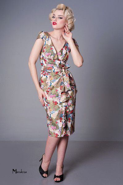 Shake what you mamma gave ya.  Wiggle Hawaiian Dress by Vanity Print - luscious floral fabric with peacocks - STUNNING!