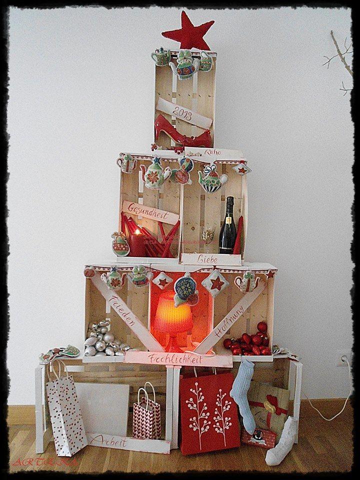 Rbol realizado con cajas de madera arboles navide os - Arboles de navidad de madera ...