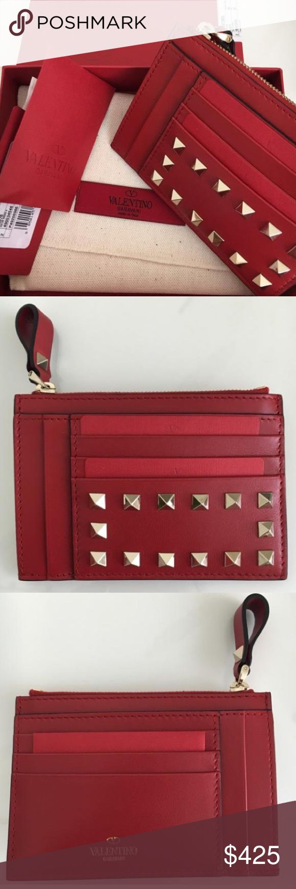 Valentino Rockstud Coin Pouch Valentino card holder / wallet. Brand new with dust pouch, tags, extra studs and box. Fits 10 cards, 2 slip pockets and 1 zip pouch. Absolutely stunning!! No Trade!. Cheaper through ️️ Valentino Bags Wallets