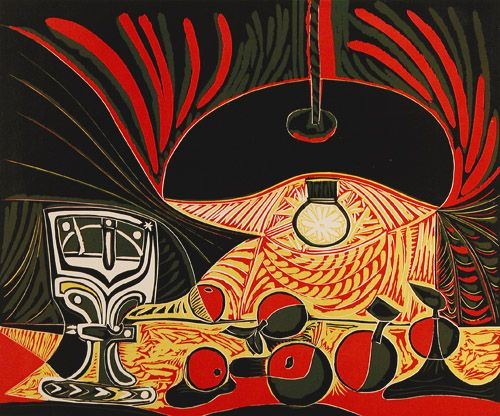 """Pablo Picasso (Spanish, 1881-1973) - """"Still Life with Glass Under the Lamp"""", 1962; linoleum cut."""