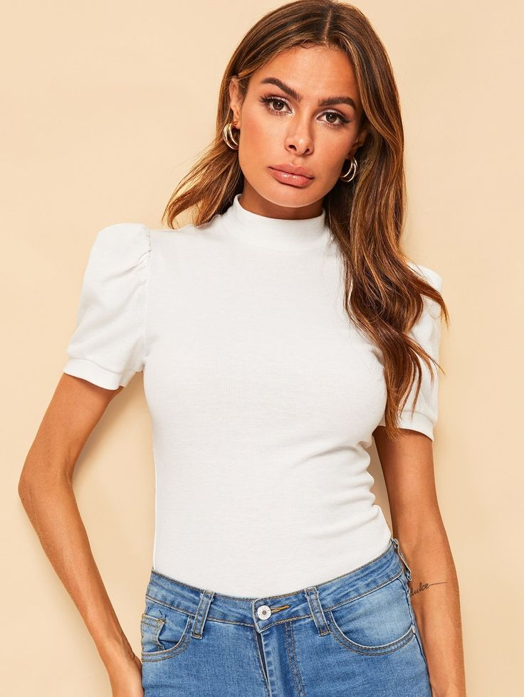 Mock-neck Puff Sleeve Solid Top 2