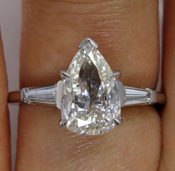 Reserved..GIA 1.46ct Estate Vintage Solitaire PEAR Shaped and Baguettes Diamond Engagement, Anniversary Platinum Ring