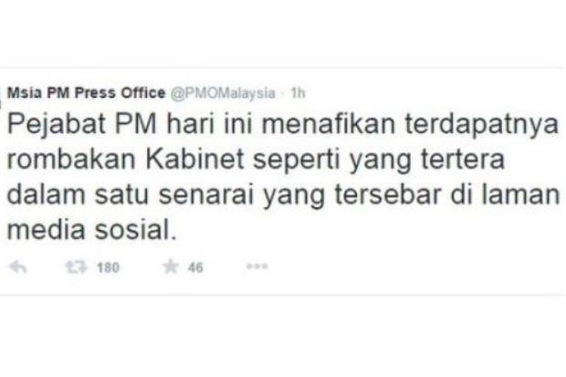 Pejabat Perdana Menteri nafi rombakan kabinet seperti yang tersebar di media sosial