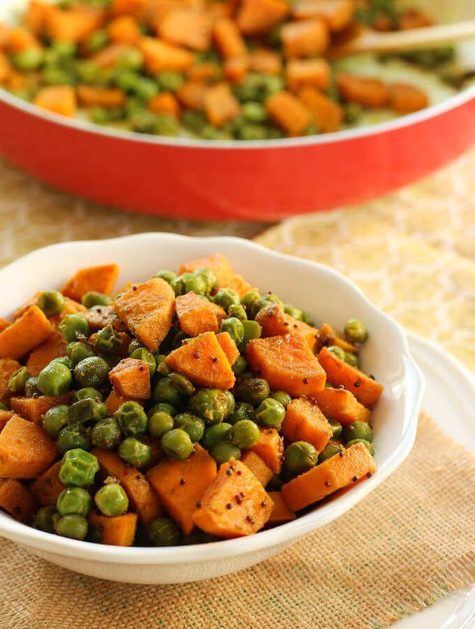 Sweet Potatoes And Peas Vegetarian Stir Fry Vegan Sweet Potato Recipes My Weekend Kitchen Pea Vegetable Sweet Potato Stir Fry Spicy Dishes