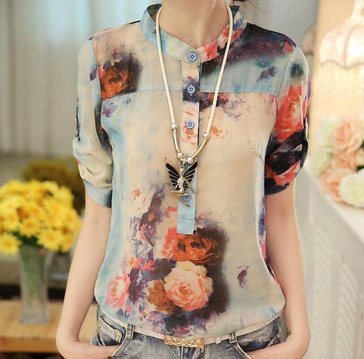 Blusa Feminina verano estilo 2015 más el tamaño blusas Ropa de Mujer Vetement Femme remiendo de la flor del Vintage botón Camisas Blusa en Blusas y Camisas de Moda y Complementos Mujer en AliExpress.com | Alibaba Group