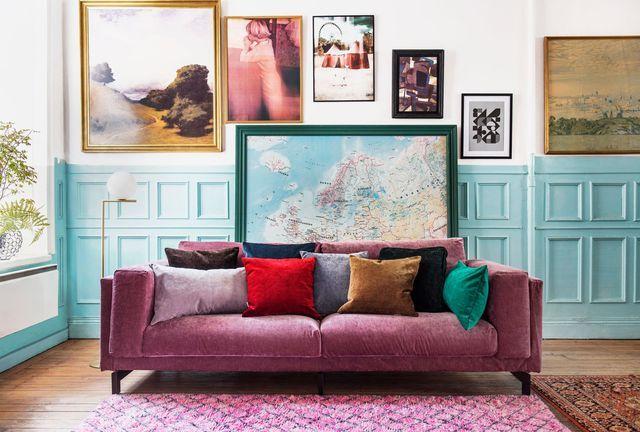 Les housses de canapé en velours Bemz pour Ikea par Designers Guild.