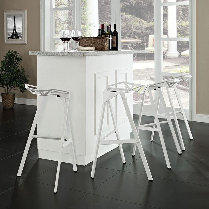 EEI-1363-WHI_4_.jpg, White - Listening is an artform with this bar stool that encourages positive social engagement. While surprisingly comfortable to sit upright in, Launch also reminds you to lean forward and smile. It is an edgy piece, that conveys both a sense of minimalist modernism, and a willingness to enter the future. Made of a coated aluminum frame with non-marking feet, Launch comes fully-assembled and stackable for easy use. Set Includes: Four - Launch Bar Stool Stacking Chair…