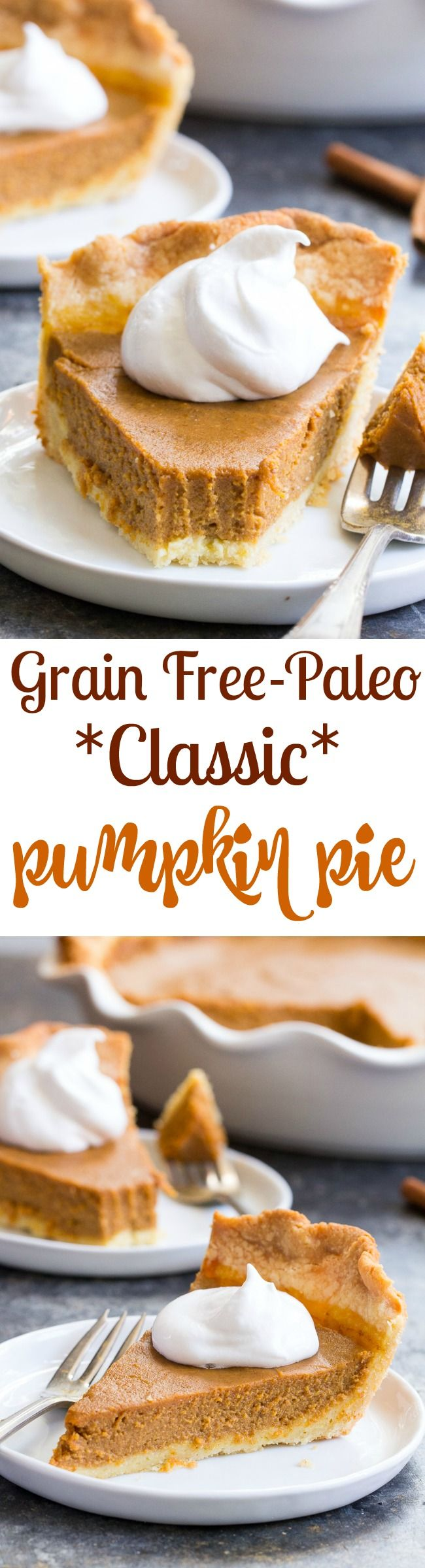 This classic Paleo Pumpkin Pie is just as delicious as any traditional pie you've made! Gluten free, grain free, dairy-free, family approved!