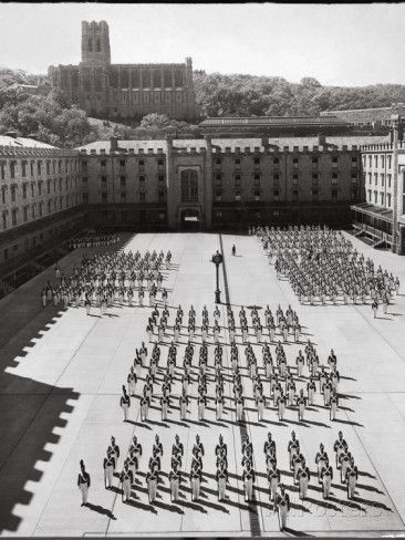 West Point Cadets Standing at Parade Rest in Courtyard of the West Point Military Academy Photographic Print by Alfred Eisenstaedt.