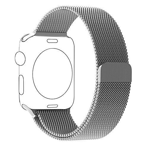 BRG Apple Watch Band Milanese Loop with Fully Magnetic Closure Clasp Mesh Stainless Steel iWatch Band Bracelet Strap for Apple Watch Series 1 Series 2 Sport&Edition 42mm Silver >>> You can get additional details at the image link.