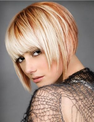 edgy uneven bob hair style