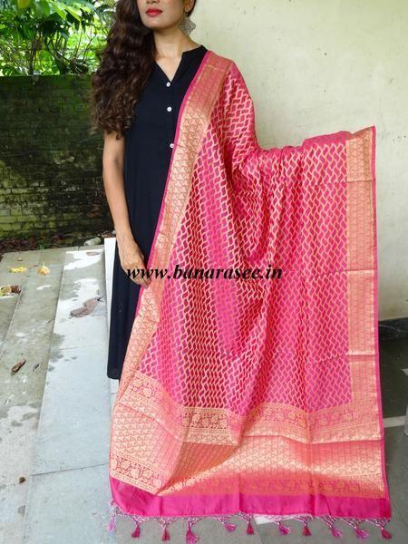 Banarasee/ Banarasi Cotton Silk Mix Zari Work Dupatta-Pink