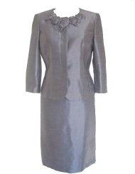 KASPER Cape Cod Embellished Neck Jacket/Skirt Suit-TITANIUM GREY-8P