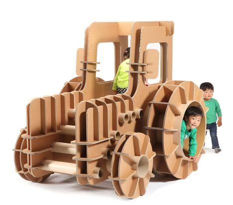 Cardboard Tractor by Masahiro Minamai, mocoloco #Toys #Tractor #Cardboard