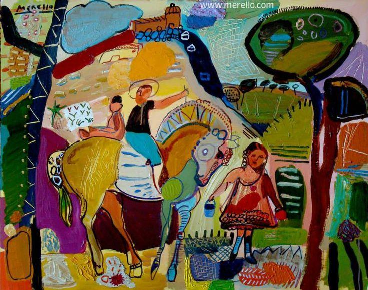 """Expressionisme en surrealisme in de kunst.  José Manuel Merello.- """"Niños de La Mancha"""" (81 x 100 cm)  HEDENDAAGSE KUNST. Moderne schilderkunst. Hedendaagse Spaanse schilders. Artiesten XXI-21 de eeuw. Amsterdam, Madrid, Parijs, kunst, luxe en decoratie. ACTUELE KUNST. Modern Art. Investering. http://www.merello.com"""